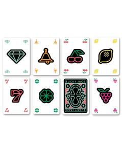 Les 7 cartes du jeu Lucky jack, jeu de carte inspiré des machines à sous.